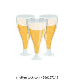 Three Tall Glasses Of Foamy Lager Beer, Oktoberfest Festival Drinks Bar Menu Item