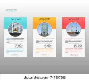 Three tariffs banners. Web pricing table. Vector design for web app. Price list.
