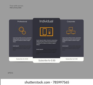 Three tariffs banners. Web pricing table. Vector design for web app. Price list. Vector. EPS 10.