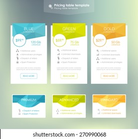 three tariffs. interface for the site. ui ux vector banner for web app.