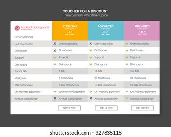 Three tariffs. interface for the site. ui ux vector banner for web app. Pricing Table Template with Three Plan Type. Pricing table, banner, button, list and bullet with plan for website in flat design