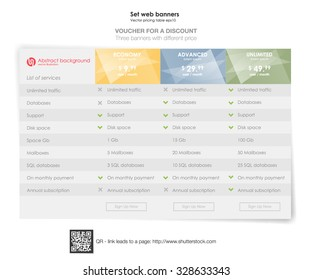 Three tariffs. interface for the site. ui ux vector banner for web app. Pricing Table Template with Three Plan Type.