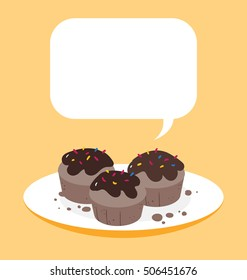 Three tasty chocolate muffins arranged on the white ceramic plate. Big text box on the top of illustration.