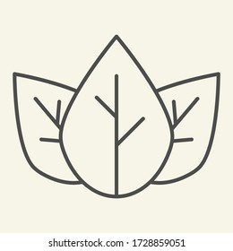 Three tea leaves thin line icon. Spa and organic symbol, outline style pictogram on beige background. Loose tea leaf sign for mobile concept and web design. Vector graphics