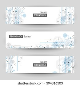 Three technology banners. Abstract vector template with geometric design.