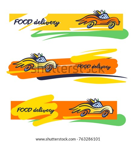 Three Template Banner Silhouette Vehicle Wheel Stock Vector Royalty