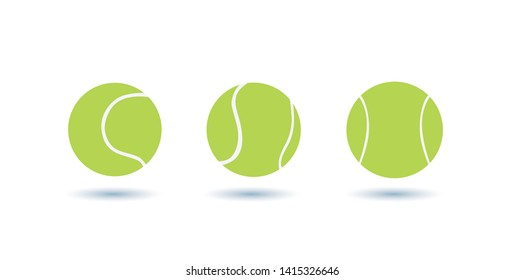 Three tennis ball icons, with shadow, on a white background