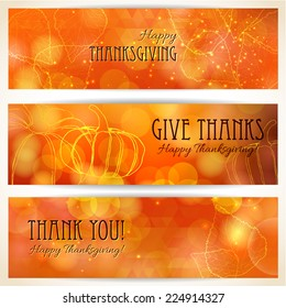 Three thanksgiving banners. Thanksgiving background design