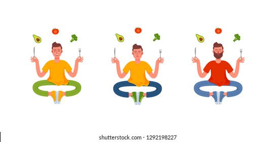 Three thin men sitting in the lotus position with a fork and knife in their hands and around them a healthy meal. Avocado, broccoli, tomato. Healthy lifestyle. Vector illustration in cartoon style.