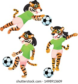 Three tiger girls as the footballers in uniform in dynamic poses with the soccer ball