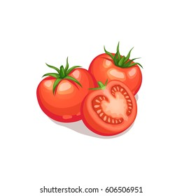 Three tomatoes isolated on white background. Tomato cut half vector icon.