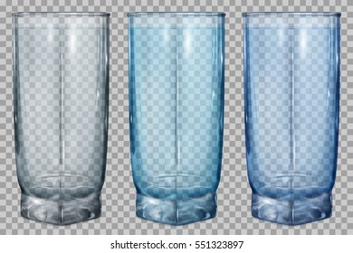 Three translucent glass for juice or water on transparent background. Transparency only in vector file
