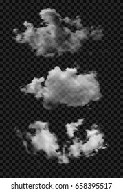 three transparent clouds on a checkered background