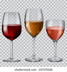 Three transparent glass goblets with wine of various colors