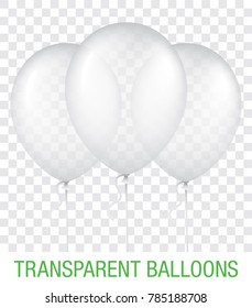 Three transparent white vector balloons, isolated on background. Realistic balloons illustration for party, celebration, festival, birthday or branding design decoration.