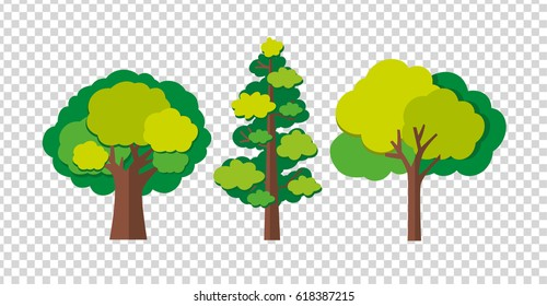 Three trees in different shapes illustration