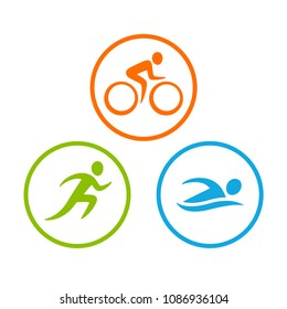 Three triathlon symbols set. Stylized human figure swim, run and bike. Isolated vector icons in circle.