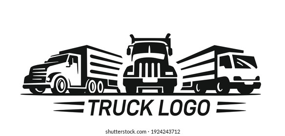 Three Truck logo template for you design in black color. Transport trucking logistics cargo vector. Delivery theme.