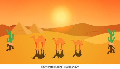 Three two-humped camel. Bactrian. Cute camel with shadow. Domesticated animal from Asia. Beast of burden. Artiodactyla. Ship of desert. Pyramids. On desert sunset background with cactus. Flat vector.