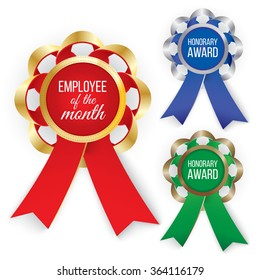 Three types of awards: Gold, silver and bronze. Vector illustration EPS 10