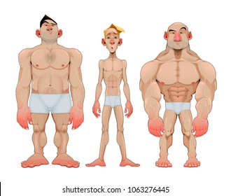 Three types of caricatural male anatomies. Vector funny isolated characters.