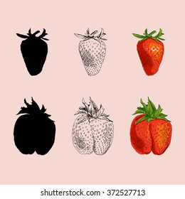 Three types of drawing strawberries (silhouette, lines, colored)