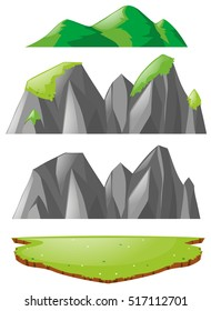Three types of mountains  illustration
