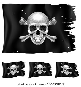 Three types of pirate flag. Illustration for design on white background