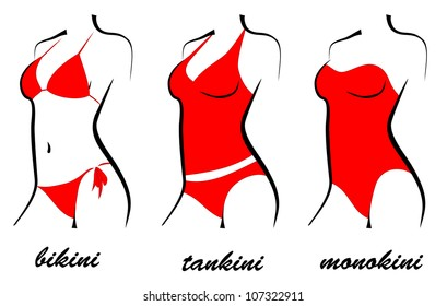 three types of swimsuits. bikini, tankini, monokini. silhouette