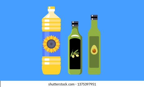Three types of vegetable oil for cooking: sunflower, olive and avocado oil. Three different bottles. Vector illustration.