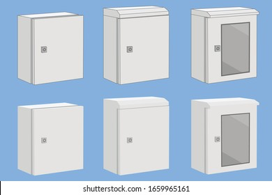 Three types of white compact control enclosure box for electrical equipment wiring and installation is modeled in 3d minimal shaded infographics with both line and without line model
