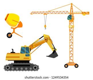Three units of vector construction equipment - crane, excavator, mobile concrete mixer