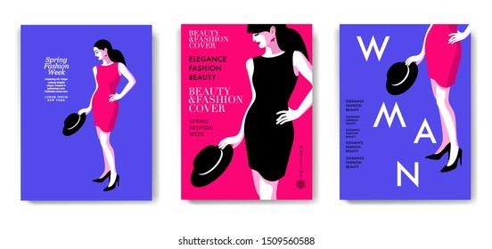 Three variants of fashion magazine cover designs. Abstract woman standing and holding the hat. Blue and pink backgrounds. Vector illustrations