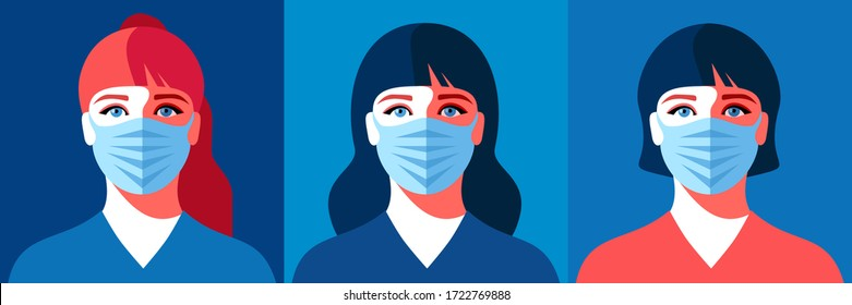 Three variants of female avatar. Young woman in medical face mask. Concept of coronavirus quarantine. Vector illustration