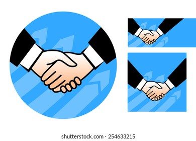 Three variants of handshake illustration on a white background.