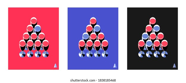 Three variants of New Year poster or greeting card. Champagne glasses arranged in the shape of a Christmas tree. Set of items, isolated, red, blue and black backgrounds. Vector illustration