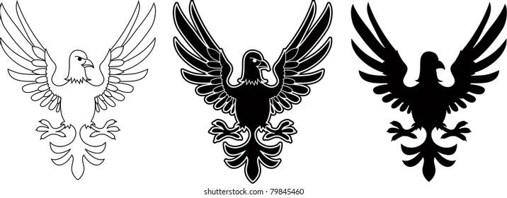 Three variants of vector eagle emblems