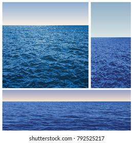 three variations of sea with horizon, vector illustration