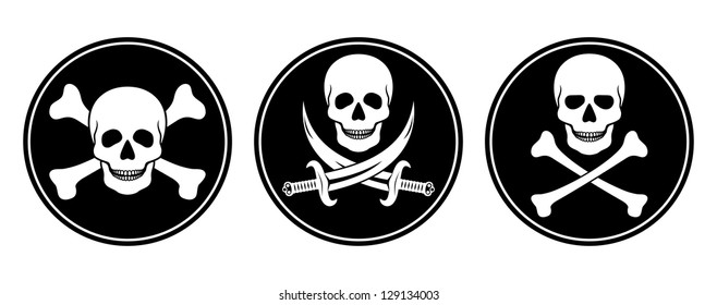 Three variations skull and crossbones, and skull with swords in vector