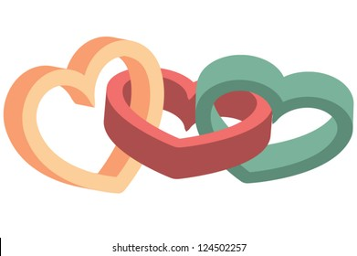 Three various colorful three-dimensional linked hearts
