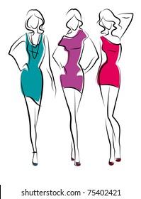 Three vector beauty girls