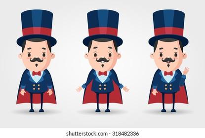 Three Vector Cartoon Magicians