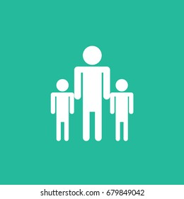 three vector characters icon or symbol of dad or father with two children. one human adult person with kids & young. son & dad isolated. two boys sign cartoon vector flat design style