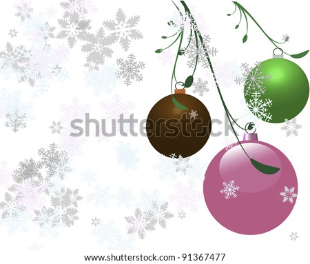 Three vector Christmas bulbs with a white snowy background.