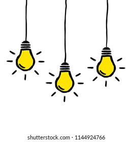 Three vector doodle hanging lightbulbs