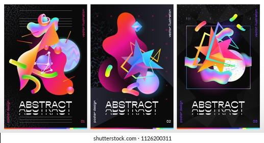 Three vector illustration of abstract vibrant design.