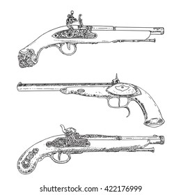 Three Vector Illustration Antique Flintlock Pistols. Hand drawn Retro Gun, vintage style.