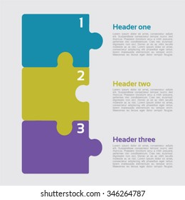 Three vector jigsaw puzzle pieces for multiple uses