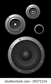 Three vector speakers and a passive radiator on black background