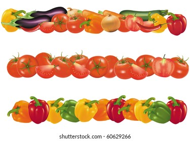 Three vegetable design borders isolated on white. Vector.